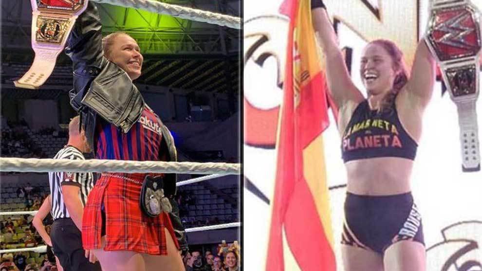 Ronda Rousey, campeona de la WWE, con la camiseta del Barcelona y la bandera de España