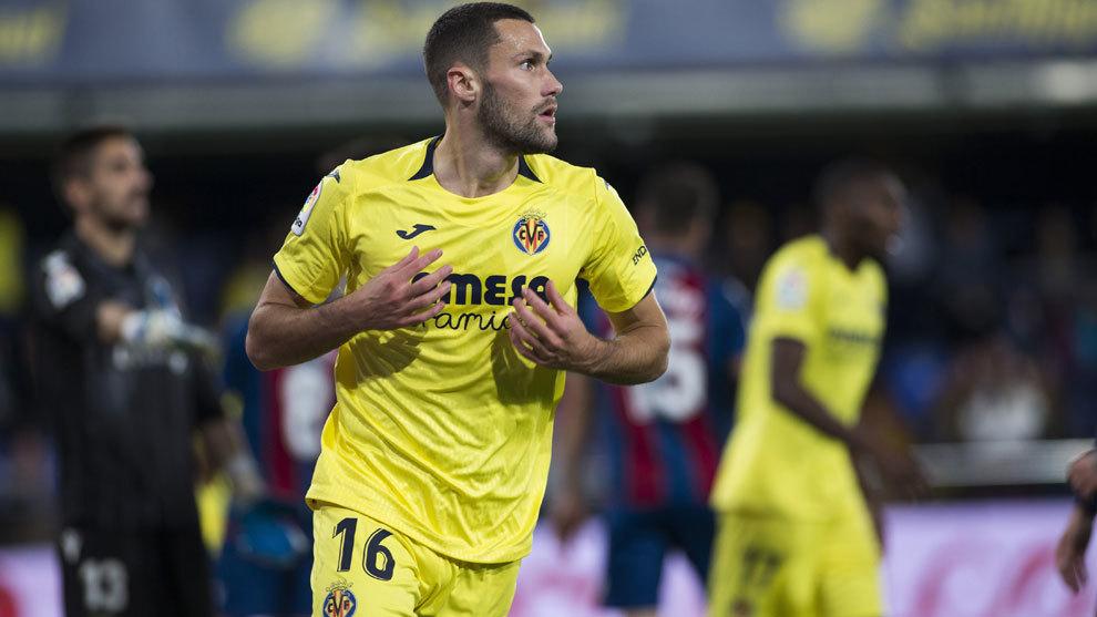 Pedraza celebra el gol ante el Levante