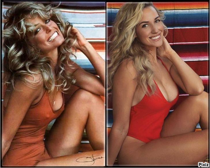 Paige Spiranac copiando el póster de Farrah Fawcett, uno de los más...