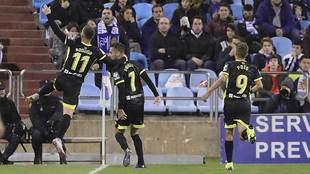 Rodri celebra con Vadillo el segundo gol del Granada en La Romareda
