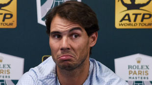 Nadal speaks during a press conference on day three of the ATP Masters...