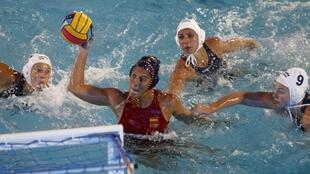 La selección española, en un encuentro ante Hungría en el Europeo...