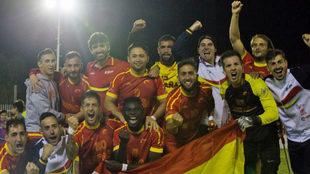 La selección española celebra su octavo puesto en el Mundial.