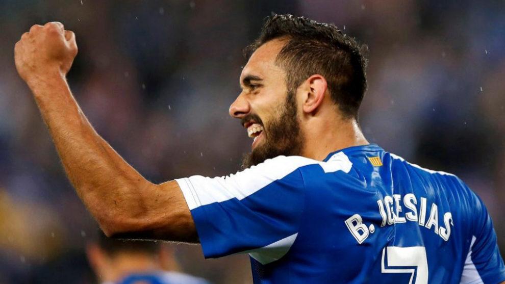 Borja Iglesias celebra el 1-0 que acabó dándole la victoria al...