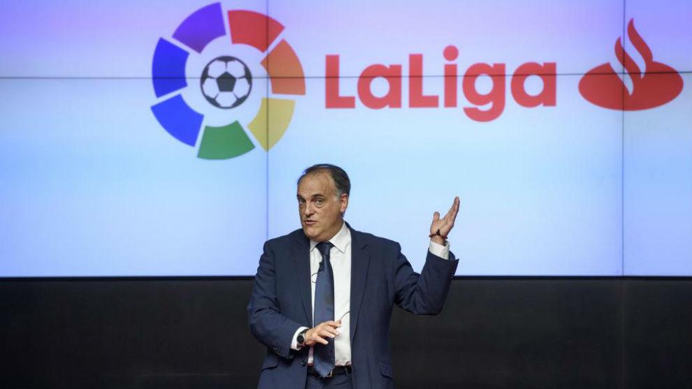 El presidente de LaLiga, Javier Tebas, durante una conferencia.