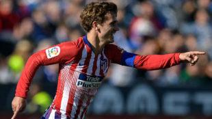 Antoine Griezmann celebra el tanto marcado ante el Leganés.