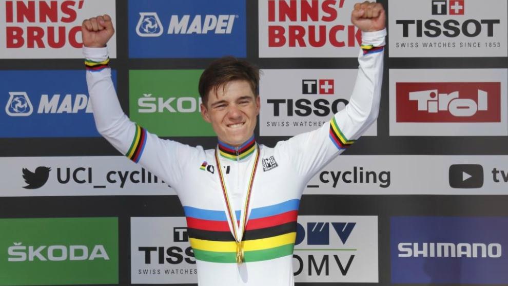Remco Evenepoel, campeón del mundo en ruta junior.