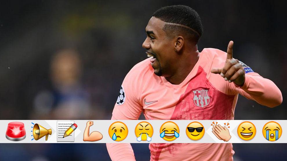Malcom celebra su gol al Inter