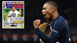 Kylian Mbappé celebra junto a Neymar un tanto con el PSG.