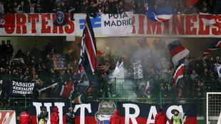 Los ultras en el Troyes-PSG.