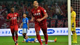 Hulk celebra un tanto con el Shanghai SIPG