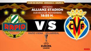 Rapid de Viena y Villarreal se enfrentan hoy en el estadio de los...