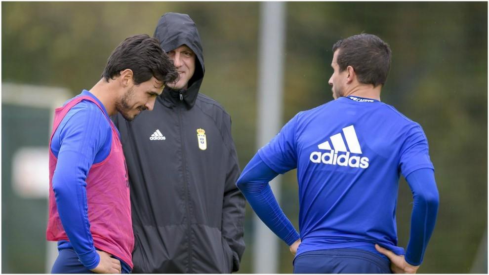 Alanís, en un entrenamiento reciente con el Real Oviedo.