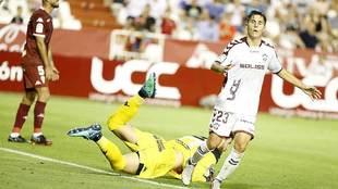 Tejero, tras una ocasión en el partido ante el Córdoba en el Carlos...