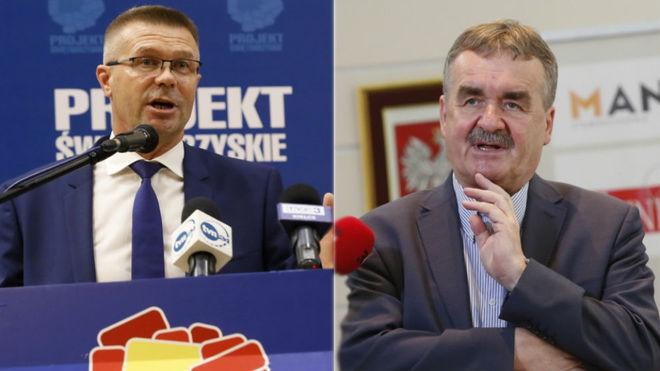 Wenta, a la izquierda, y su oponente a la alcaldía de Kielce.