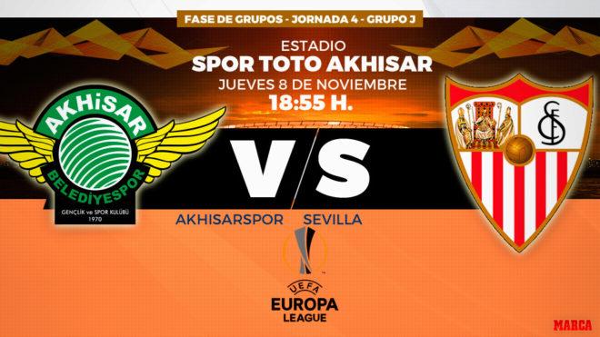 Akhisarspor y Sevilla se enfrentan hoy en el estadio de los turcos.