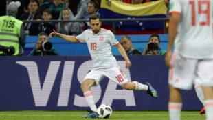 Jordi Alba en el Mundial de Rusia ante Kazan.