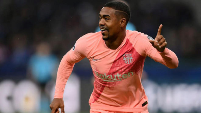 Malcom celebrates his goal in Milan