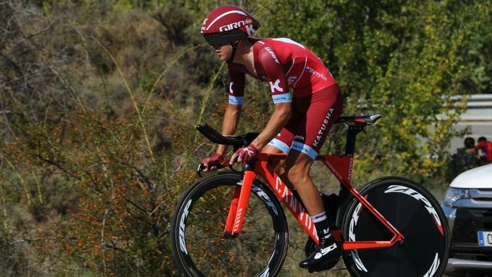 Matvey Mamykin, durante una crono de la Vuelta a España 2017.