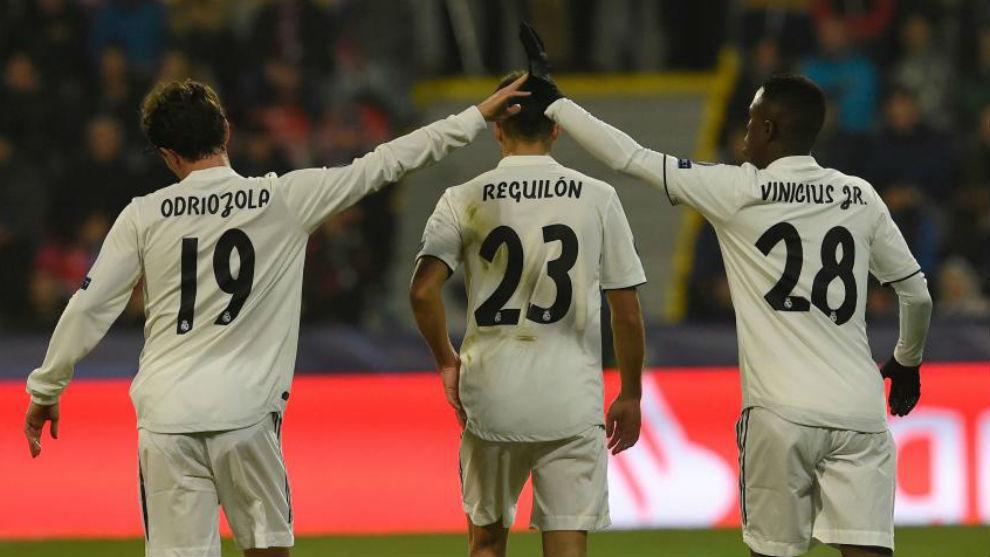 Odriozola, Reguilon and Vinicius.