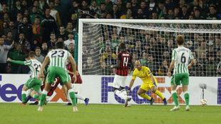 Lo Celso, tras rematar el pase de Junior que supuso el 1-0 al Milan.