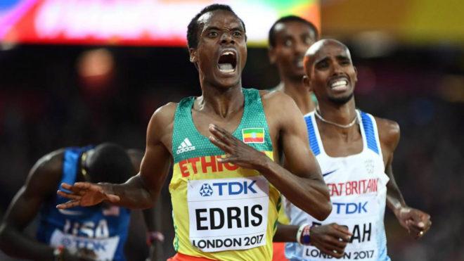 Muktar Edris supera a Mo Farah en los 5.000 metros del Mundial de...