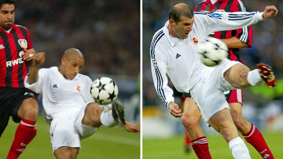 Roberto Carlos y Zinedine Zidane, en la jugada que dio lugar al 2-1...
