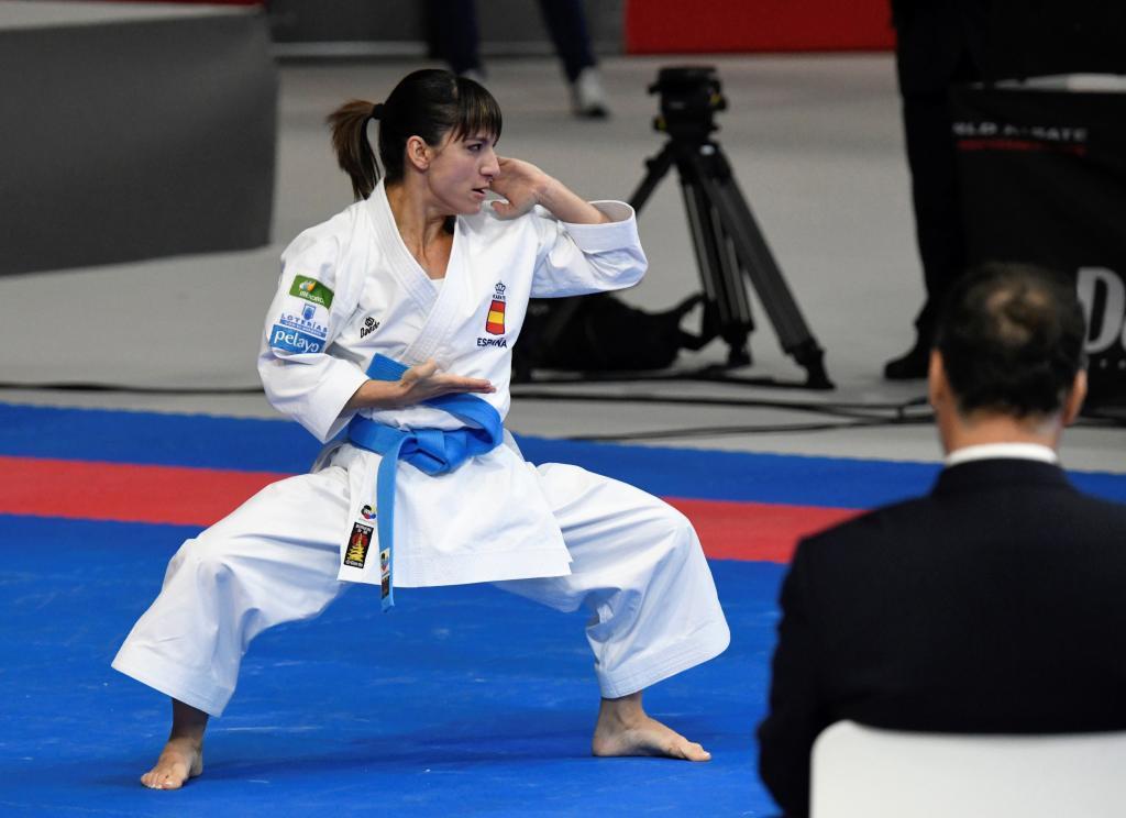 Sandra Sánchez, ejecutando un kata durante el Mundial de Madrid.