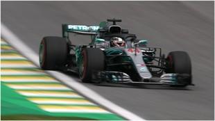 Hamilton, en el GP de brasil.