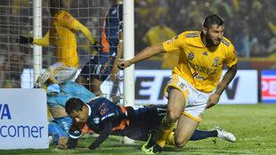 Gignac celebra un tanto ante Puebla en el Universitario