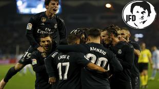 Los jugadores del Real Madrid celebran uno de los goles ante el Celta.