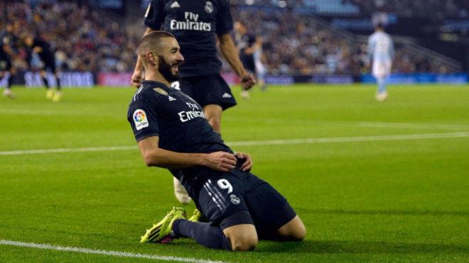 Karim Benzema, celebrando su gol en Balaídos.
