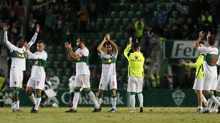 El Elche celebrando una de las victorias logradas en el Martínez...
