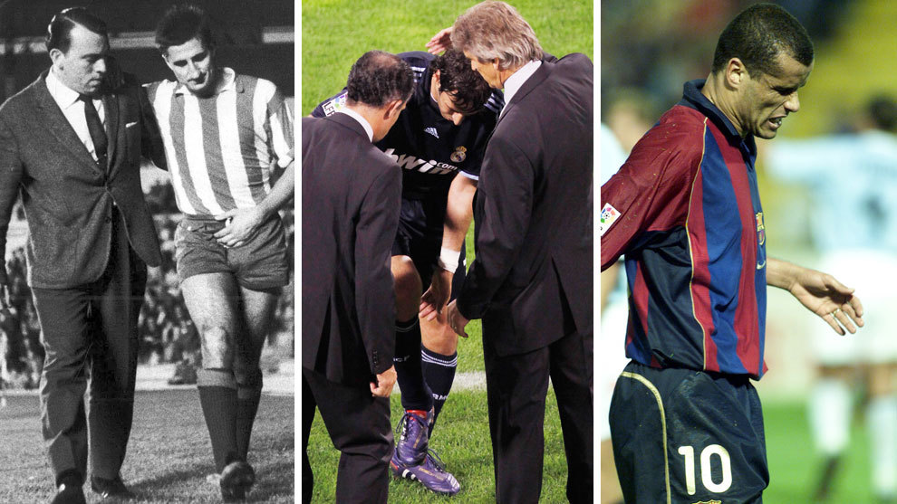 Calleja con el médico del Atlético tras sufrir una lesión, Raúl...