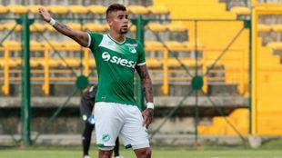 Juan Sebastián Quintero, en un partido con el Deportivo Cali
