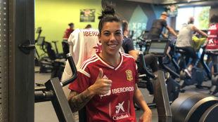 Marta Carro trabajando en el gimnasio del hotel.