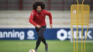 Aridane, en un entrenamiento de Osasuna en las instalaciones de...