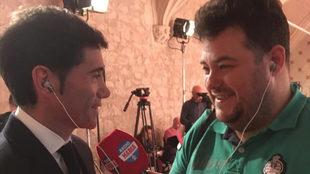 Marcelino García Toral junto a Carles Escolán durante la entrevista...