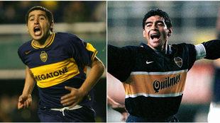 Riquelme y Maradona con la camiseta de Boca Juniors.