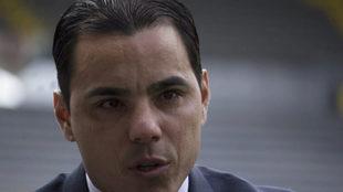 Durante su conferencia en el Estadio Jalisco.