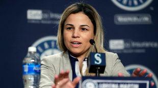 Lorena Martín en conferencia con los Mariners.