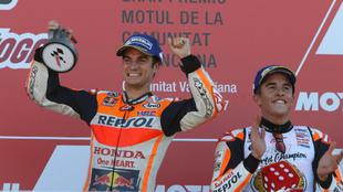 Dani Pedrosa y Marc Márquez en el GP de Valencia 2017