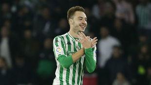 Loren celebra su gol al Celta en el Villamarín.