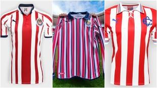 Tres modelos de uniforme de las Chivas.