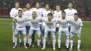 El once del Real Zaragoza frente al Nástic.