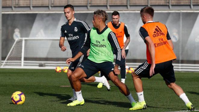 Mariano, durante el entrenamiento del Real Madrid.