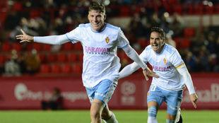 Pep Biel celebra su gol ante el Nástic.