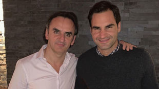 Abel Lusa con Roger Federer