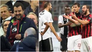 A la izquierda, Matteo Salvini durante el Milan-Juve. A la derecha,...