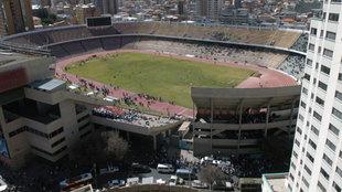 Vista panorámica del estadio Hernando Siles, en La Paz.
